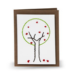embroidery folded card - tree