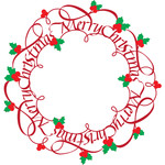 merry christmas flourished wreath