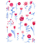 hayfever watercolor flowers stickers