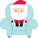 santa in chair - milk & cookies