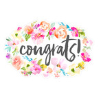 cute congrats banner with flowers