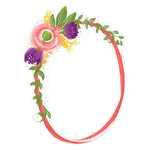 painted floral frame oval