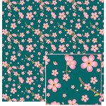 cherry blossom on teal pattern