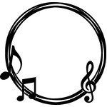 musical notes circle frame