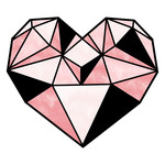 black and pink prism heart