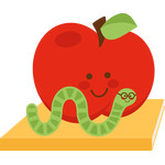school apple with worm