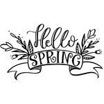 hello spring phrase with florals