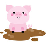 pig in mud- on the farm