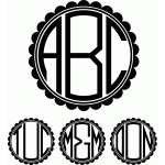 monogram scalloped circle font