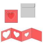 nested square accordion card with envelope