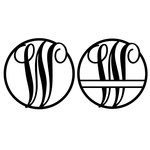 fancy monogram circle nameplate w