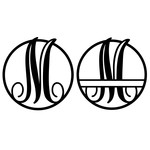 fancy monogram circle nameplate m