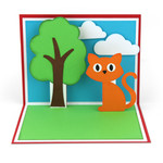 a2 cat + tree pop up card