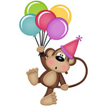 birthday monkey girl holding balloons