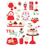 red tea party planner stickers