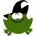 frog with witch hat