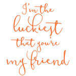im the luckiest that you're my friend