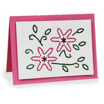 embroidery folded card - flower