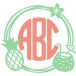 tropical drinks monogram frame