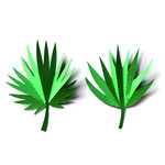 3d large tropical leaves