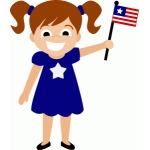 patriotic girl with flag