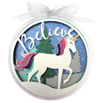 believe unicorn christmas holiday ornament
