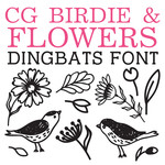 cg birdie and flower dingbats