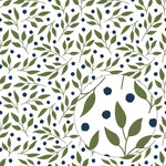 leaves & berries pattern (navy & green)