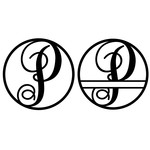 fancy monogram circle nameplate p