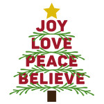 joy love peace believe with branches word tree
