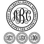 monogram basic script - happy holidays ring