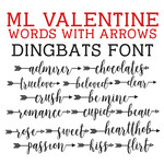 ml valentine words with arrows dingbats