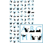 kitty cat blue alphabet planner stickers