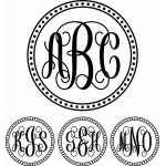 monogram script dot circle