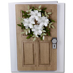 coffered flower wreath door card