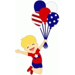 patriotic boy with balloons