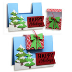 happy holiday card with gift box