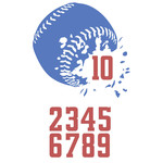 baseball with numbers