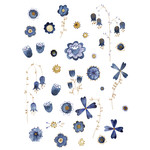 indigo watercolor flower stickers