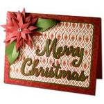 merry christmas poinsettia card