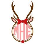 reindeer with bow monogram frame