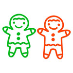 gingerbread boy and girl outline