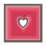 layered heart square wall art