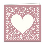 blank floral square heart card