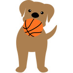 dog biting the basketball