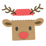 christmas reindeer face card