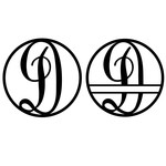 fancy monogram circle nameplate d