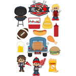 football tailgate party stickers / die cuts