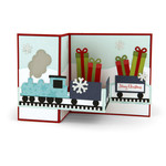 pop up box card christmas train