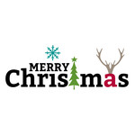 merry christmas with tree and antlers
